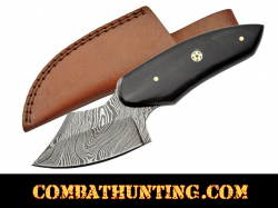 Damascus Steel Skinning Knife With Stag Horn Handle 6.25""