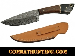 Damascus Steel Hunting Knife With Walnut & Horn Handle