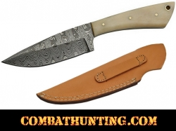 "Damascus Steel Skinner Hunting Knife 8"" With Bone Handle"