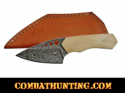 "Damascus Steel Hunting Knife 6"" With Bone Handle"