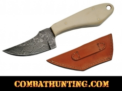 "Damascus Steel Skinner Hunting Knife 6.5"" With Bone Handle"