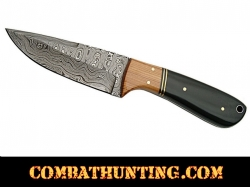 Damascus Steel Hunting Knife With Stag Horn Handle