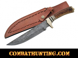 Damascus Steel Bowie Knife With Stag Horn Handle