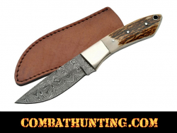 Damascus Steel Stag horn Handle Hunting Knife