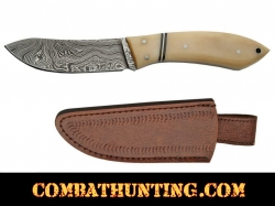 "Damascus Steel Skinner Knife 7"" With Bone Handle"