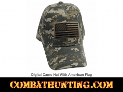 Digital Camo Hat With American Flag