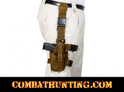 Deluxe Drop Leg Tactical Holster System Adjustable Coyote Brown