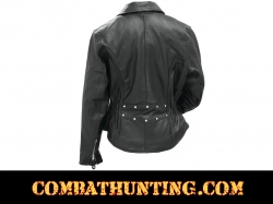 Womens Black Leather Biker Motorcycle Jacket
