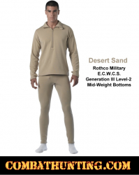Military ECWCS Generation III Mid-Weight Bottoms Desert Sand