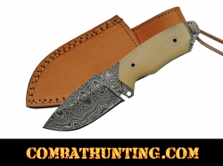 Damascus Steel Hunting Knife With Bone Handle