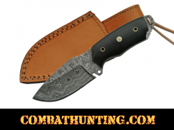 Damascus Steel Hunting Knife With Buffalo Horn Handle