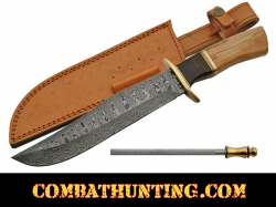 "Damascus Steel Bowie Hunting Knife 14.5"" With Olive Wood Handle"