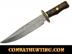 "Damascus Steel Bowie Hunting Knife 16"" With Rose Wood Handle"