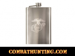 Marine Corps Stainless Steel Flask with Engraved Eagle Globe and Anchor