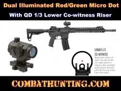 Micro Dot Sight Illuminated With QD 1/3 Lower Co-witness Riser