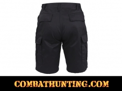 Black Military Style BDU Cargo Shorts