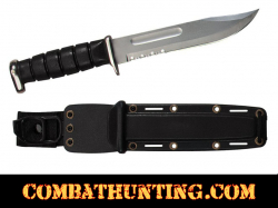 USMC Style Fighting Knife With Serrated Blade