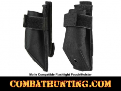 Molle Compatible Flashlight Pouch Holster Black