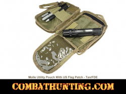 Molle Utility Pouch With US Patch FDE/Tan