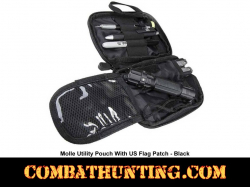 Molle Utility Pouch With US Patch Black