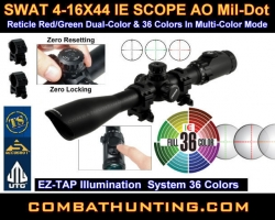 Swat 4-16X44  IE Scope 36 Color Reticle AO Mil-Dot