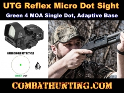 UTG Reflex Micro Dot Green 4 MOA Single Dot Sight, Adaptive Base