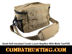 Small Soft Insulated Cooler Lunch Bag/Box With Molle Tan/FDE