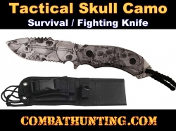 Tactical Survival Fighting Knife Skull Camo With Sheath