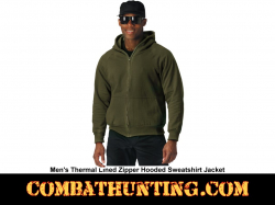 Olive Drab Thermal Lined Hooded Sweatshirt Jacket