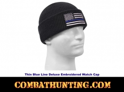 Thin Blue Line Deluxe Embroidered Watch Cap/Beanie