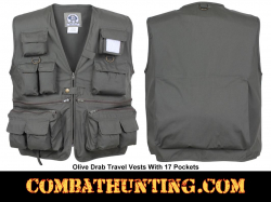 Travel Vest With Pockets Olive Drab