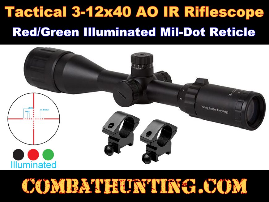 Firefield 3-12x40mm Illuminated Reticle Mil-dot Scope style=