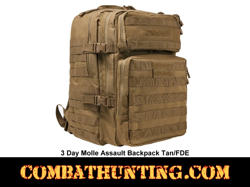 3 Day Molle Assault Backpack Tan/FDE style=