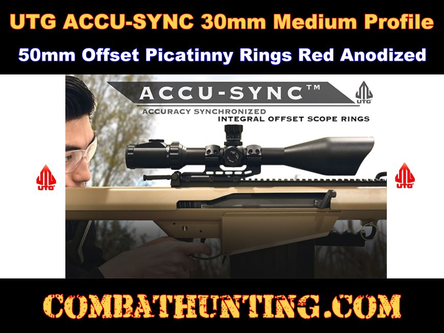 UTG ACCU-SYNC 30mm Medium Profile 50mm Offset Picatinny Rings Red style=