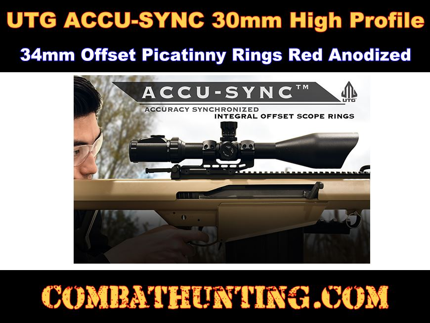 UTG ACCU-SYNC 30mm High Profile 34mm Offset Picatinny Rings Red Anodized style=