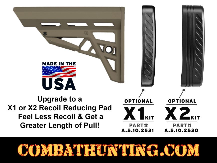 AR-15 TactLite Adjustable Commercial Stock In Flat Dark Earth With Buffer Tube style=