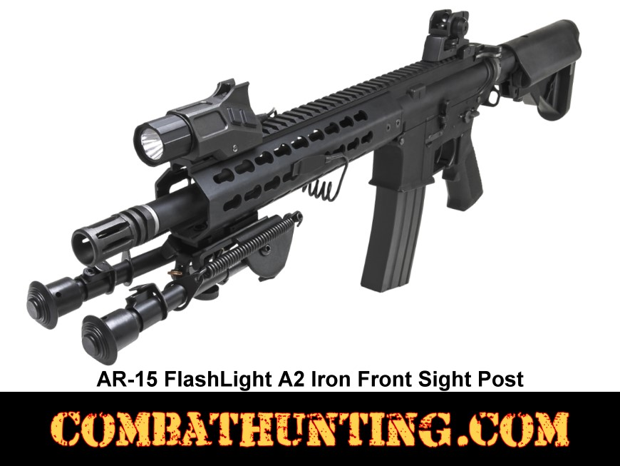 AR15 Flashlight with A2 Iron Front Sight Post style=