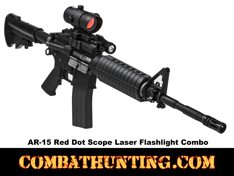 AR-15 Red Dot Scope Laser Flashlight Combo style=