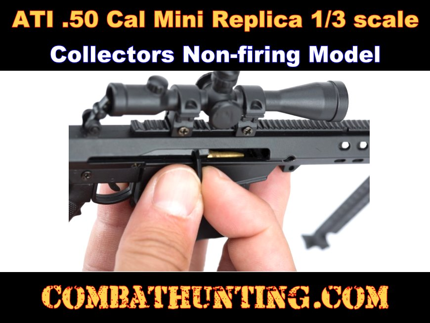 Miniature .50 Cal Sniper Rifle Model in Black 1/3 Scale Die Cast Metal style=
