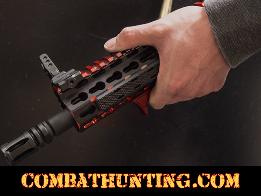 UTG® Ultra Slim Angled Foregrip Keymod Matte Red style=