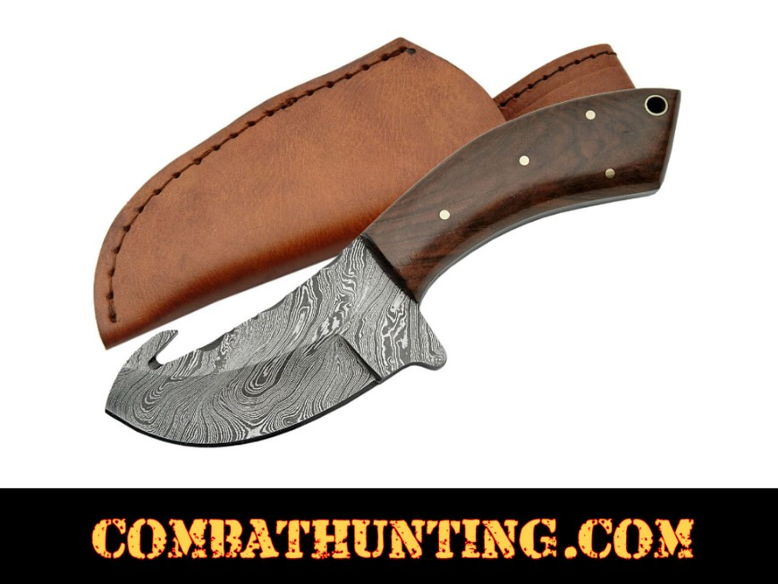 Dm 1063 Damascus Skinning Knife With Gut Hook Damascus Knives