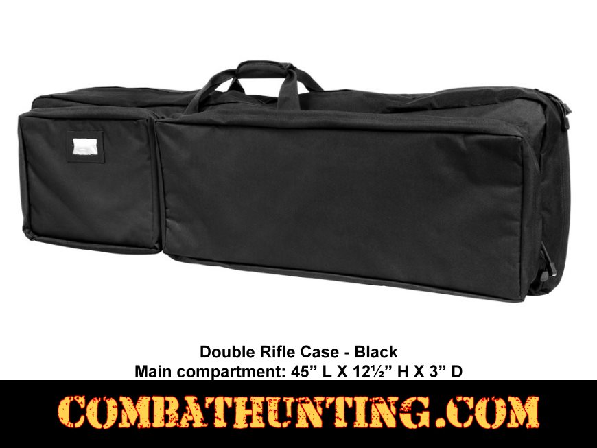 Double Rifle Case Black 45 Inch style=