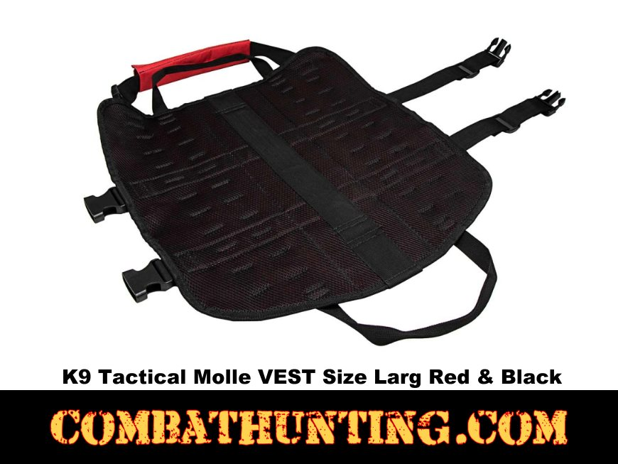 K9 Tactical Molle VEST Size Larg Red With Black Trim style=