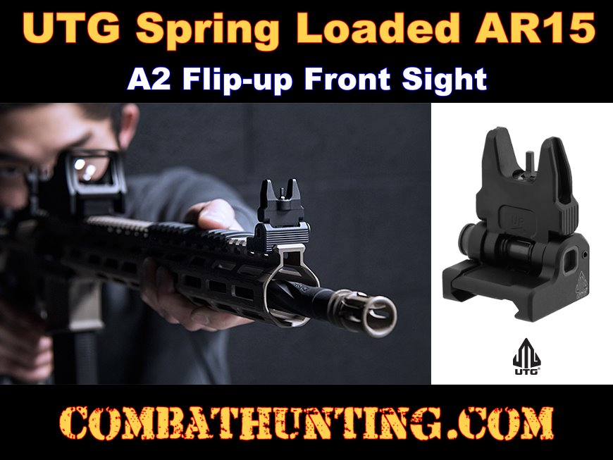 UTG ACCU-SYNC Spring-loaded AR15 Flip-up Front Sight Black style=