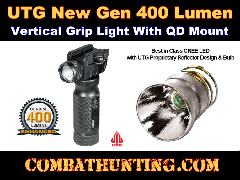 UTG New Gen 400 Lumen Vertical Grip Light with QD Mounting Base style=