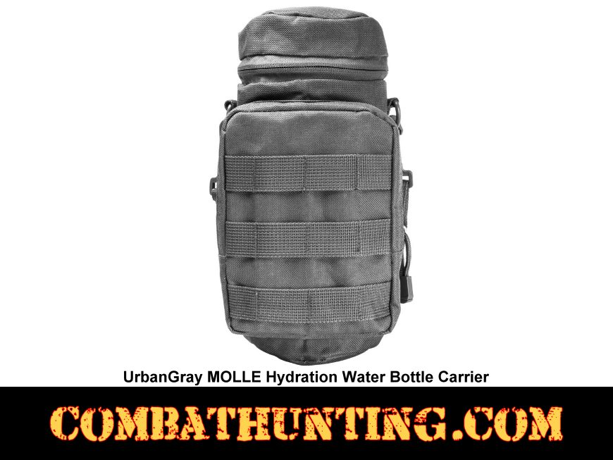 Urban Gray MOLLE Hydration Water Bottle Carrier Pouch style=