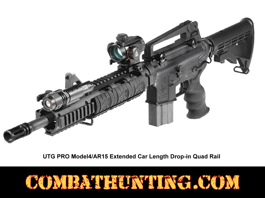 AR-15 Drop-In Quad Rail Extended Carbine Length Handguard style=