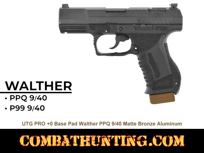 UTG PRO +0 Base Pad Walther PPQ 9/40 Matte Bronze Aluminum