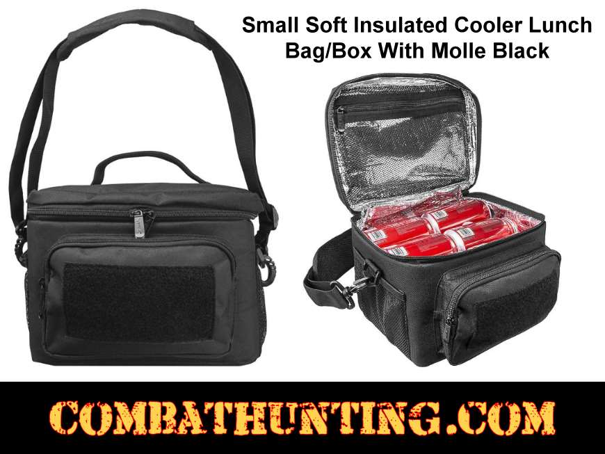 Small Black Soft Insulated Cooler Lunch Bag/Box With Molle style=