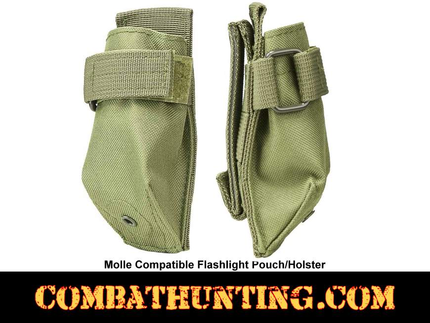 Molle Compatible Flashlight Pouch Holster Green style=